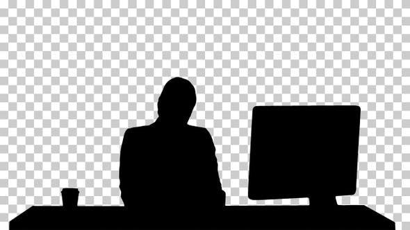 Silhouette  woman looking , Alpha Channel