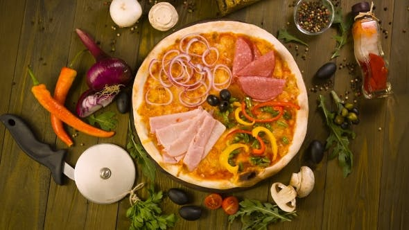 Tasty Italian Pizza, And Ingredients On Background