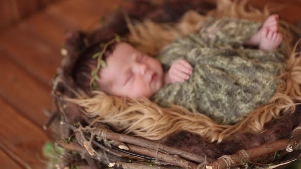 Thumbnail for Sleeping Newborn Baby In a Wrap