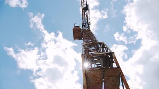 Crane Rotate at Building Construction Site, Architecture Apartments. Wide Shot