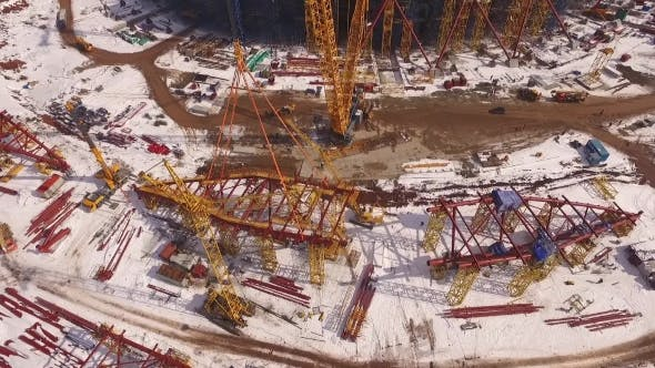 Thumbnail for Constrution Of Sporting Stadium In Sunny Winter Day