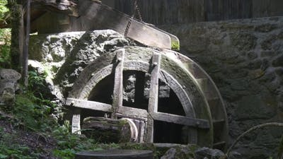 Old Fashioned Spinning Water Mill