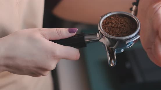 Thumbnail for Making Ground Coffee with Tamping Fresh Coffee. Close-Up. Making Coffee From Start To finish.Tamping