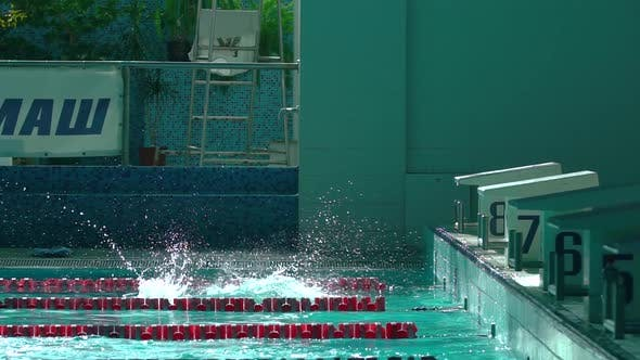 Woman Swimmer Jumping in Deep Water in Swimming Pool Slow Motion. Female Professional Swimmer Diving