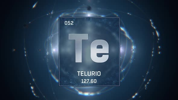 Tellurium as Element 52 of the Periodic Table on Blue Background in Spanish Language