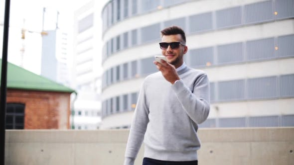 Cover Image for Man Using Voice Command Recorder On Smartphone