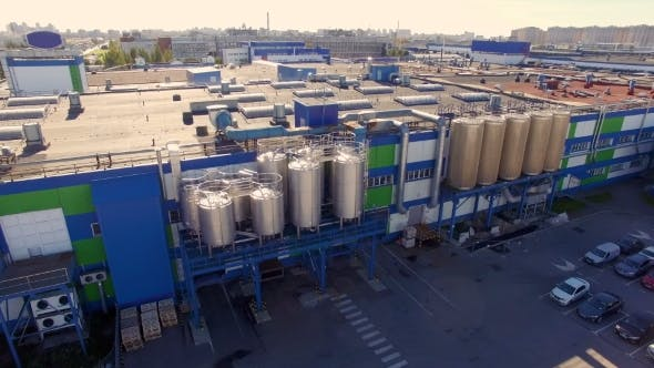 Thumbnail for Aerial View Of The Dairy Plant In The Industrial Area Of The City