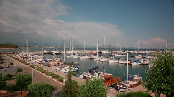 Thumbnail for Sailing Boats And Yachts In a Marina In a Windy Summer Day. ,