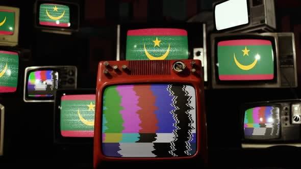 Mauritania flag on Vintage TV Stack.