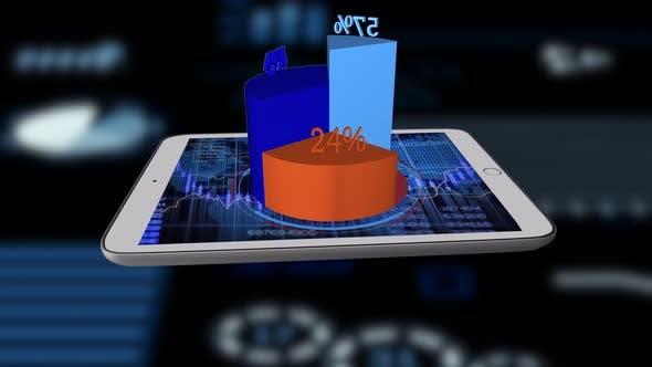 Thumbnail for Digital Chart Diagrams Showing Sales Growth Progress Statistic