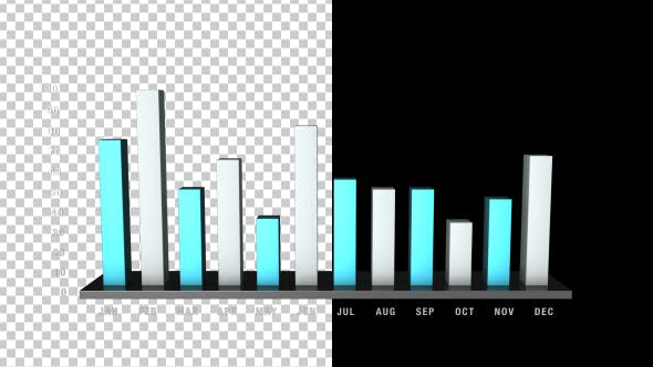 Thumbnail for 3D Bar Chart Growing - 12 Months