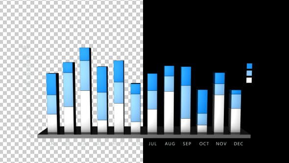 Thumbnail for 3D Bar Chart Growing - 12 Months - 3 Stage