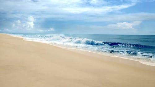 Empty Beach Seascape Aerial Drone Shot