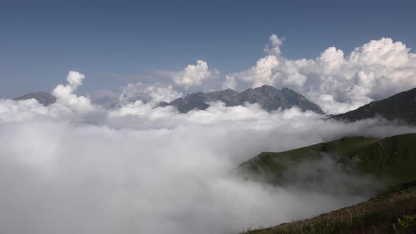 Cloud Movements in High Terrestrial Mountain Climate at Mount Ridge