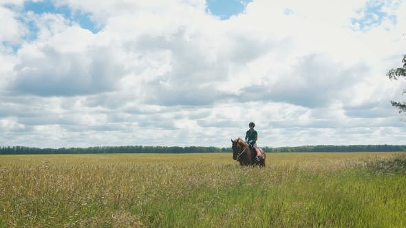 Thumbnail for Beautiful Girl Riding a Horse In Countryside