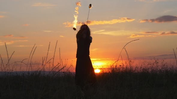 Thumbnail for Incredible Stunts With Fire Poi At Sunset