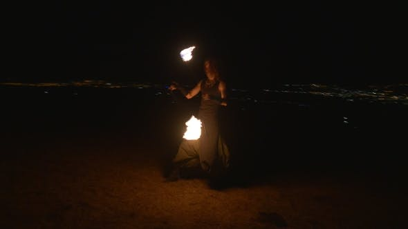 Thumbnail for Fireshow Performance With Burning Torch At Night