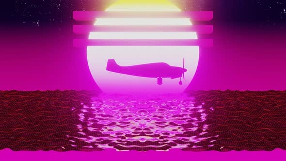 Thumbnail for Retro Futuristic Plane Flying Over Low Poly Shaped Water