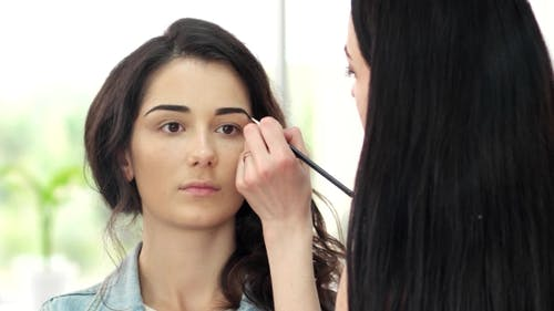 Design Of Eyebrows Girl In a Beauty Salon, Eye Shadow Applied With a Brush Eyebrows, Eyebrow Pencil