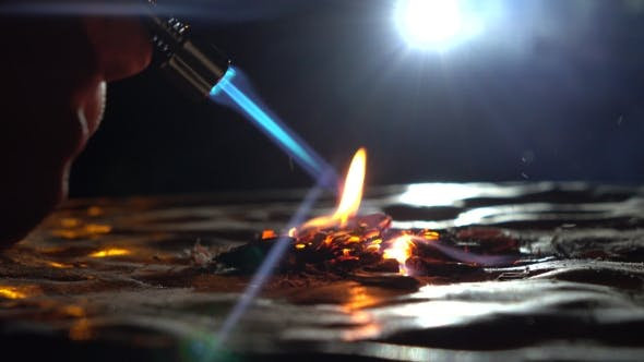 Thumbnail for Gas Burner In Action. Burning Wooden Chips