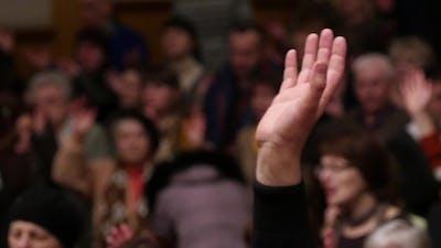 Hand Raised At Church Worship