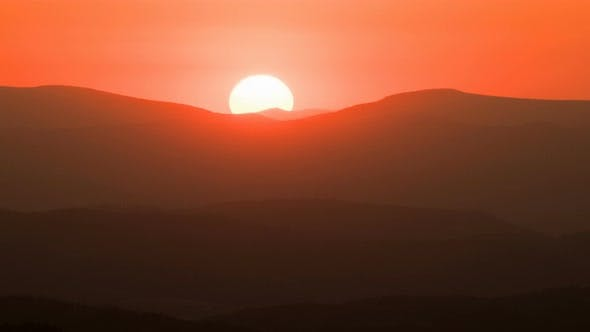 Thumbnail for Orange Sunset over Mountains Nature