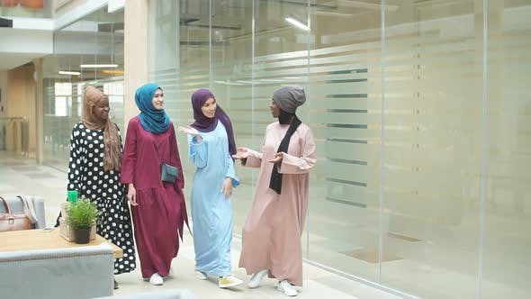 Thumbnail for A Group of Four Young Muslim Multiethnic Girls Chatting and Walking Together in Business Centre