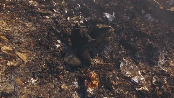 Burnt Garbage On Huge Dump Site
