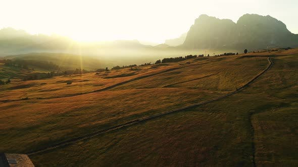 Thumbnail for Sunrise drone aerial video in the Dolomites mountains