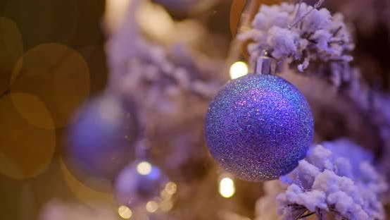 Thumbnail for Christmas tree decoration ball at night