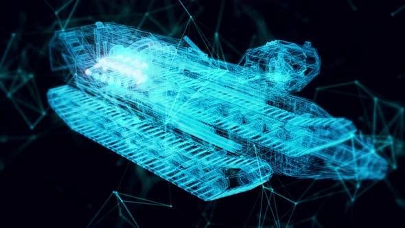 Mining Vehicle Hologram Close Up 4k