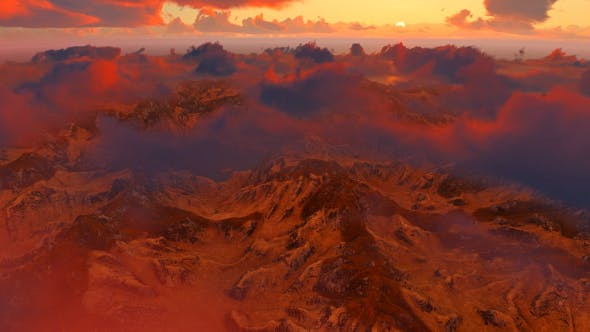 Thumbnail for Sunrise - Flying Above The Clouds And Mountains
