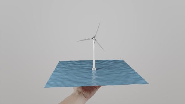 Thumbnail for Man Twists In Hand a Wind Turbine Located On Water. Light Gray Background. Alternative Ecologic