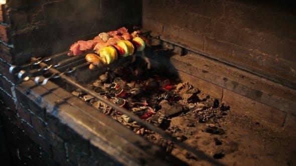 Thumbnail for Man Prepares Shish Cebab On Barbeque