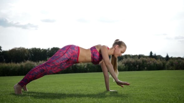 Thumbnail for Slim Pretty Woman Doing Side Plank On Green Grass