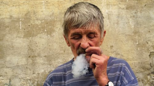 Footage a Man At The Age Of Smoking a Cigarette.