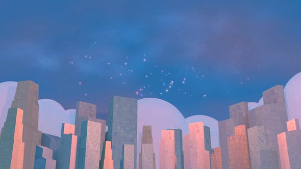 Thumbnail for 3D Toon Cityscape And Fireworks