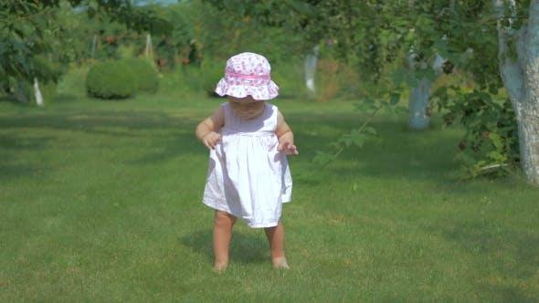 Thumbnail for The Little Girl Walks on a Green Grass.