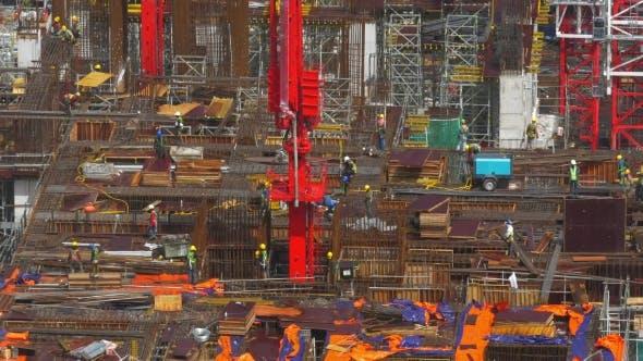 Thumbnail for Ansicht von Baubereich mit Bauherren in Arbeit. Kuala Lumpur, Malaysia