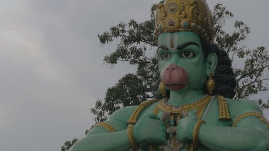 Thumbnail for Seen Head With Hands Of Statue Of Hanuman At Batu Caves, Malaysia