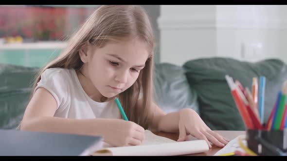 Thumbnail for Close-up of Focused Caucasian Girl Doing Math at Home, Clever Schoolgirl Doing Homework at the Table