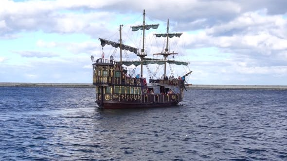 Thumbnail for Pirate Ship Sailing In Sea