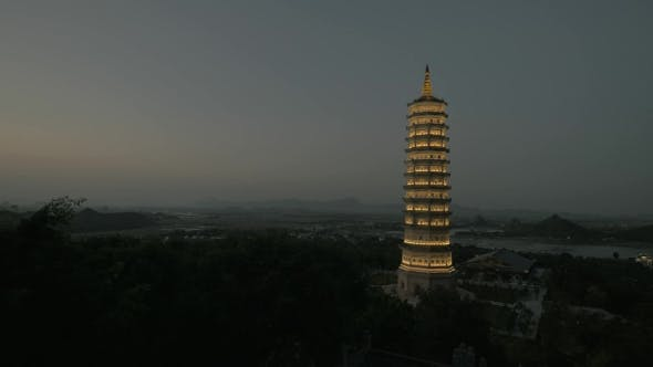 Thumbnail for Bai Dinh Temple With Illuminated Tower At Night, Vietnam