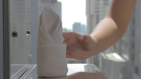 Thumbnail for Placing Clean Towels In The Hotel Bathroom