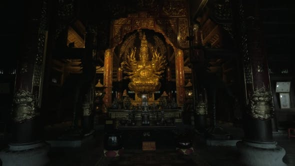 Thumbnail for Altar With Quan Am Bronze Statue In Bai Dinh Temple, Vietnam