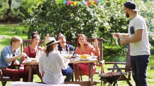Thumbnail for Friends Having Barbecue Party At Summer Garden