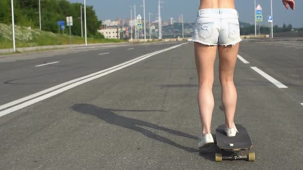 Thumbnail for Sexy Young Hot Woman Outdoor on the Road with Longboard Desk on Asphalt