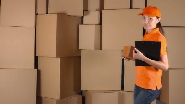 Thumbnail for Girl Courier In Orange Uniform Delivering a Parcel To Wrong Address