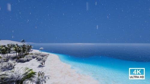 Beautiful Snow Sea Beach 4K
