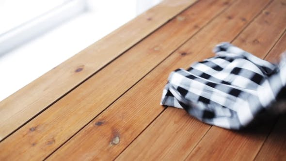 Thumbnail for Woman Folding Checkered Shirt On Table At Home